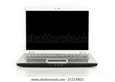 Front view of a laptop computer isolated on white - stock photo