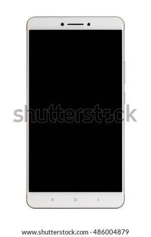 Front view of a large screen smartphone isolated on white background