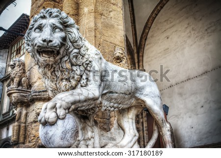 front view of a Lion in Loggia dei Lanzi in Florence, Italy
