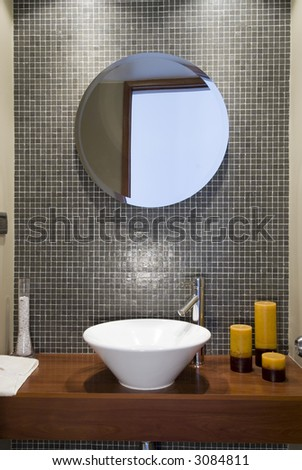 front view of a modern bathroom - stock photo