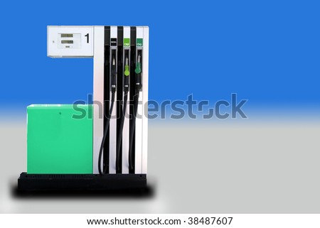 Front view of a modern fuel pump isolated on gradient. - stock photo