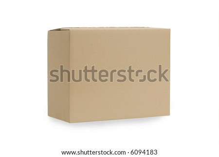 Front view of a plain brown blank cardboard box isolated on a white background.  Space for copy.
