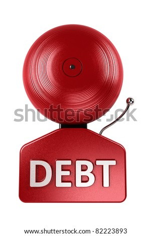 Front view of a red debt alarm bell over white over white background - stock photo