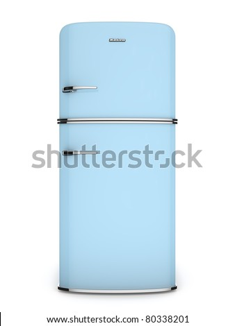 front view of a retro refrigerator - stock photo