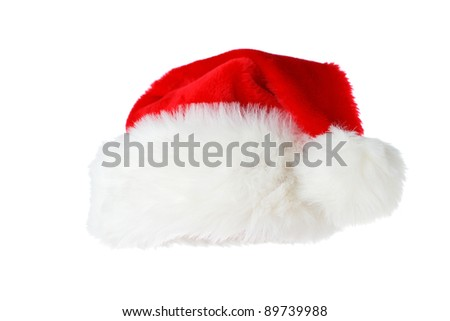 Front view of a santa hat isolated on white