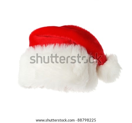 Front view of a Santa's hat isolated on white