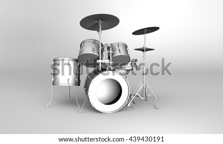 Front view of a set of 3D rendered drums in grayscale style - stock photo