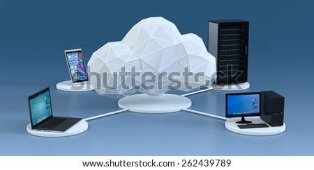 front view of a smartphone, a computer notebook, a desktop pc, a computer server cabinet, the devices are connected to a cloud made with the technique of low poly modeling, blue background (3d render) - stock photo