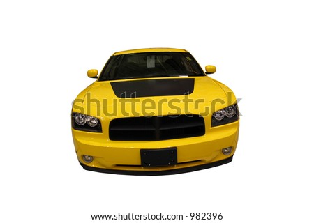 Front View Of A Sporty Yellow Car Isolated Over White - stock photo