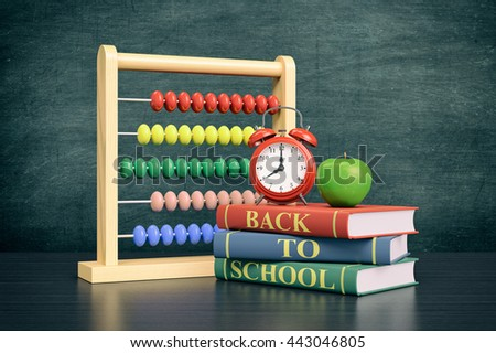 front view of a vintage alarm clock, an abacus with text: back to school and a stack of books, chalkboard on background with empty space (3d render)