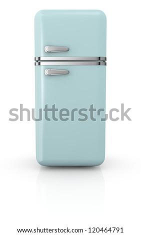 front view of a vintage fridge (3d render) - stock photo