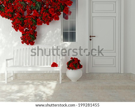 Front view of a wooden white door. Beautiful red roses and bench on the porch. Exterior of a house. - stock photo