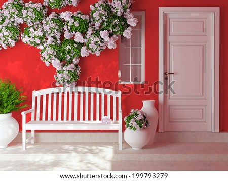 Front view of a wooden white door on a red house with window. Beautiful roses and bench on the porch. Exterior of a house. - stock photo