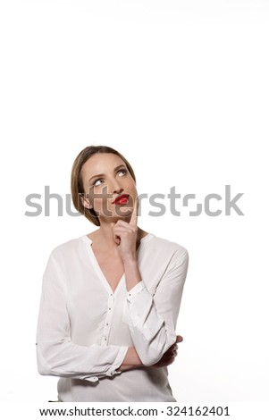 Front view of a young woman isolated on white with copy space - stock photo
