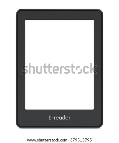 front view of an ebook reader with blank screen, white background (3d render) - stock photo