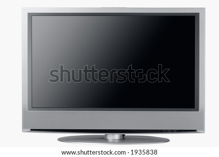 Front view of an isolated high end silver flat LCD television, - stock photo