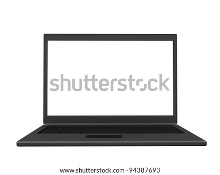 Front view of an isolated modern lightweight laptop with a blank screen. (3D illustration)