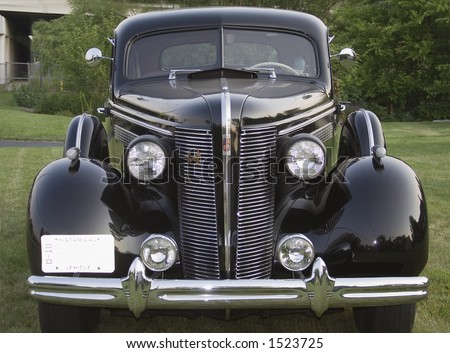 Front view of an old Buick classic American car.  1930's era?  Vintage - stock photo