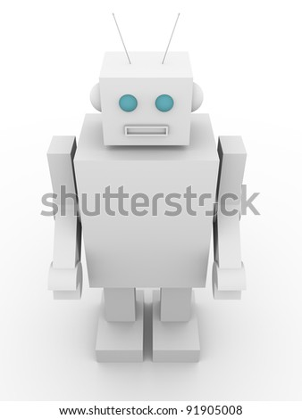 Front view of an old fashioned robot. Vintage style humanoid - stock photo
