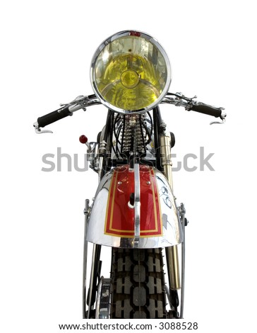 Front view of an old motorcycle - stock photo