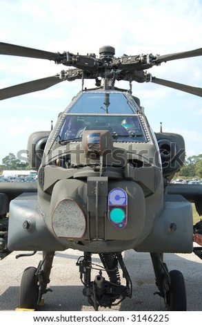 Front view of Apache helicopter - stock photo