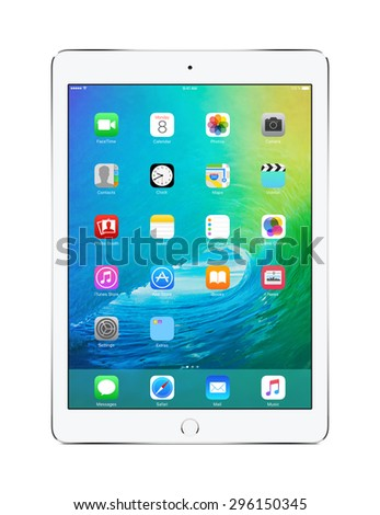 Front view of Apple Silver iPad Air 2 with touch ID displaying announced on WWDC 2015 iOS 9 operating system, designed by Apple Inc. Isolated on white background. Varna, Bulgaria - February 02, 2014. - stock photo