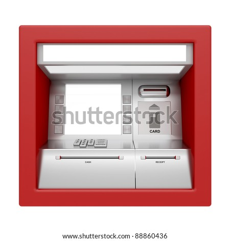 Front view of ATM machine isolated on white - stock photo