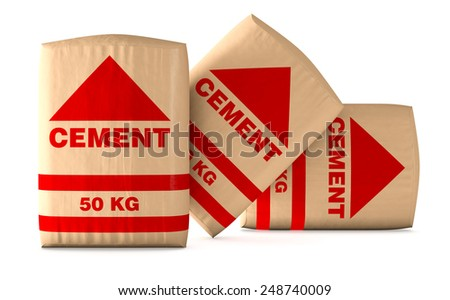 front view of bags of cement on white background (3d render) - stock photo