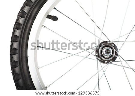 Front view of bike wheel isolated over white background - stock photo