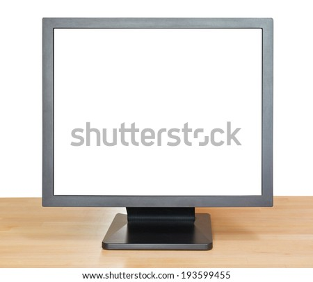 front view of black display with cut out screen on wooden table isolated on white background