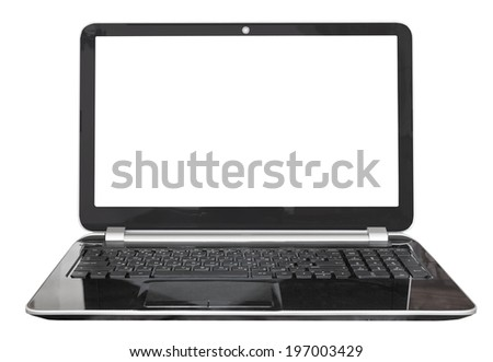 front view of black laptop with cut out screen isolated on white background