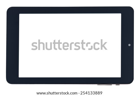 front view of black tablet pc with cut out screen isolated on white background - stock photo