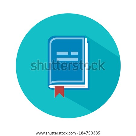 Front view of blank book in flat design. Raster version - stock photo