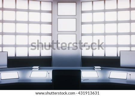Front view of blank screens on wall and desk in security room. Mock up, 3D Rendering - stock photo