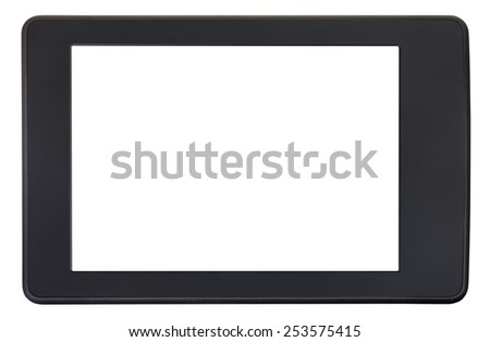 front view of book reader with cut out screen isolated on white background - stock photo