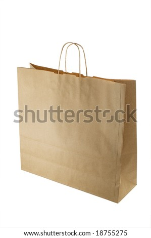 front view of brown paper bag isolated on white with clipping path - stock photo
