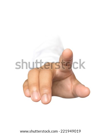 Front view of business woman hand click isolate on white - stock photo
