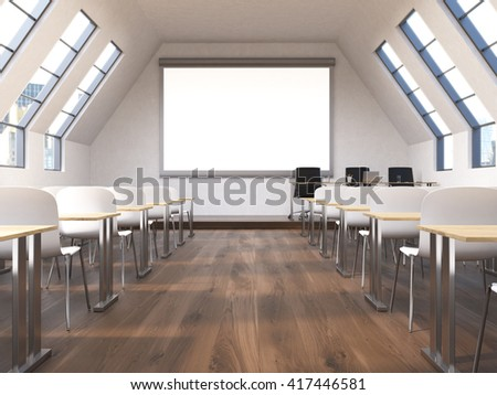 Front view of classroom interior with blank whiteboard, tables, desks, wooden floor and city view. Mock up, 3D Rendering - stock photo