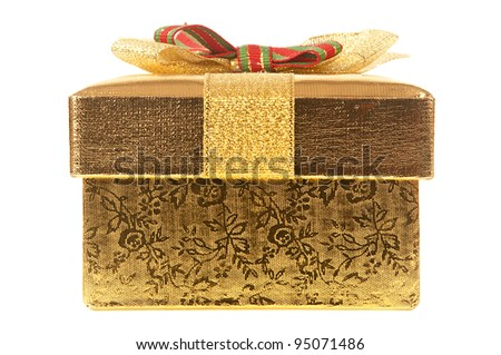 Front View Of Closed gold gift box with bow and ribbon on a white background. - stock photo