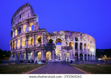Front view of Coliseum in Rome, at dusk - stock photo