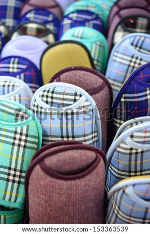 Front view of colourful slippers - stock photo