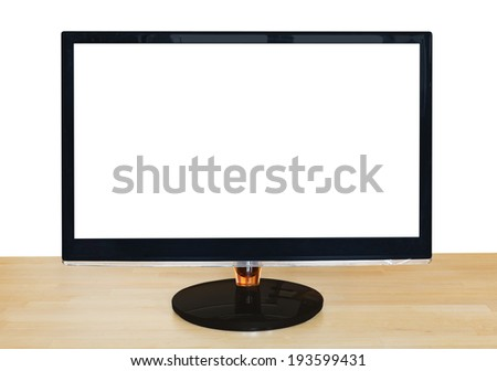 front view of computer black widescreen display with cut out screen on wooden table isolated on white background