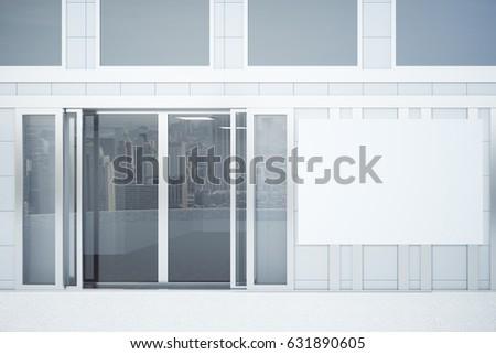 Blank White Signage On Store Glass Stock Illustration 531043222