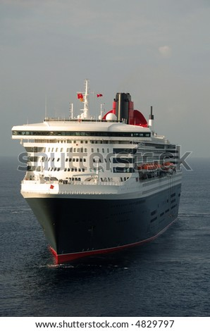 Front view of cruise ship - stock photo