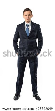 Front view of cutout businessman putting hands in his pocket. Successful lifestyle. Business staff. Office clothes. Dress code. Presentable appearance. Self-confidence. - stock photo