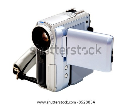 front view of digital video camera over white - stock photo