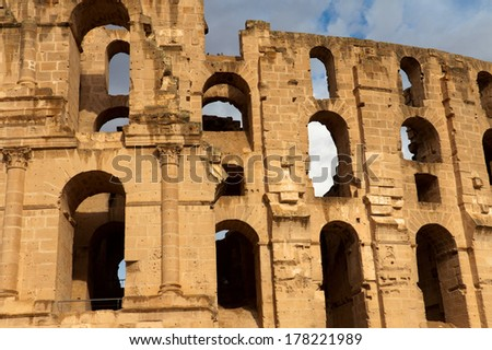 Front view of El Djem Colosseum, Tunisia - stock photo