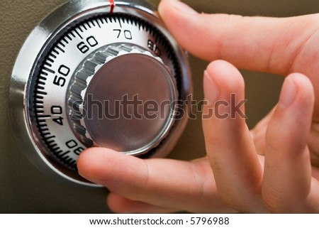 Front view of fingers searching security code - stock photo