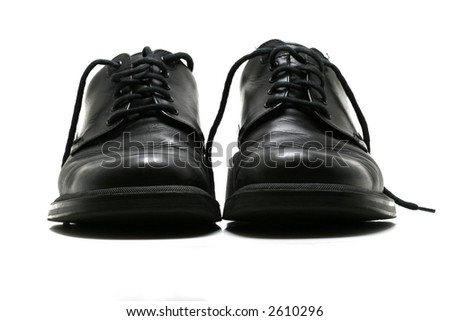 front view of formal black leather shoes for men on white background. - stock photo