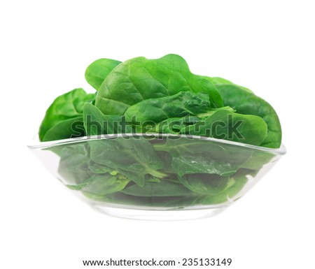 front view of fresh spinach in a bowl, vegetarian food